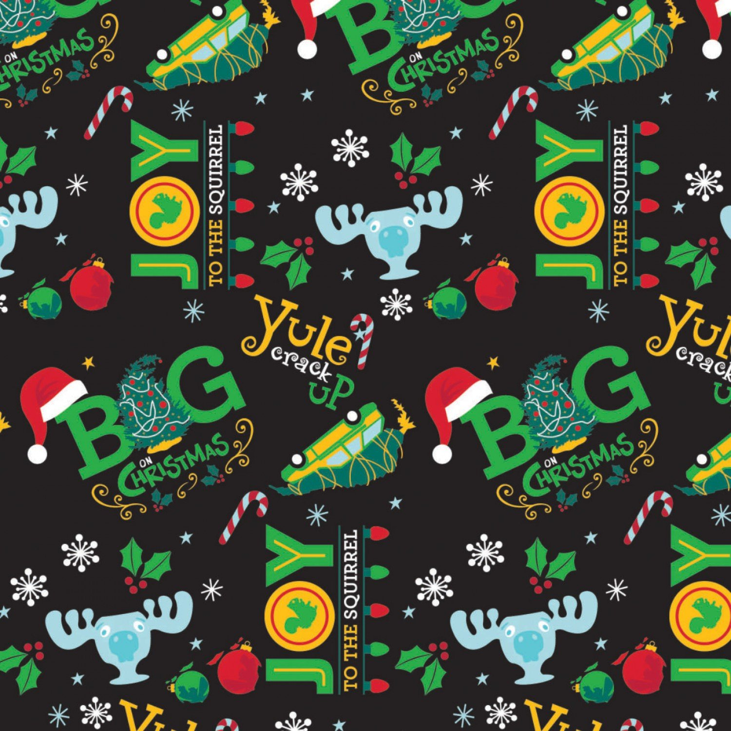 Character Winter Holiday 2 Christmas Vacation Big Christmas on Black Fabric by the Yard