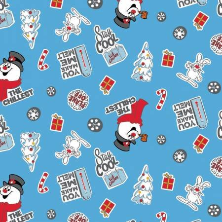 Character Winter Holiday 2 Frosty the Snowman Asset Toss on Blue Fabric by the Yard