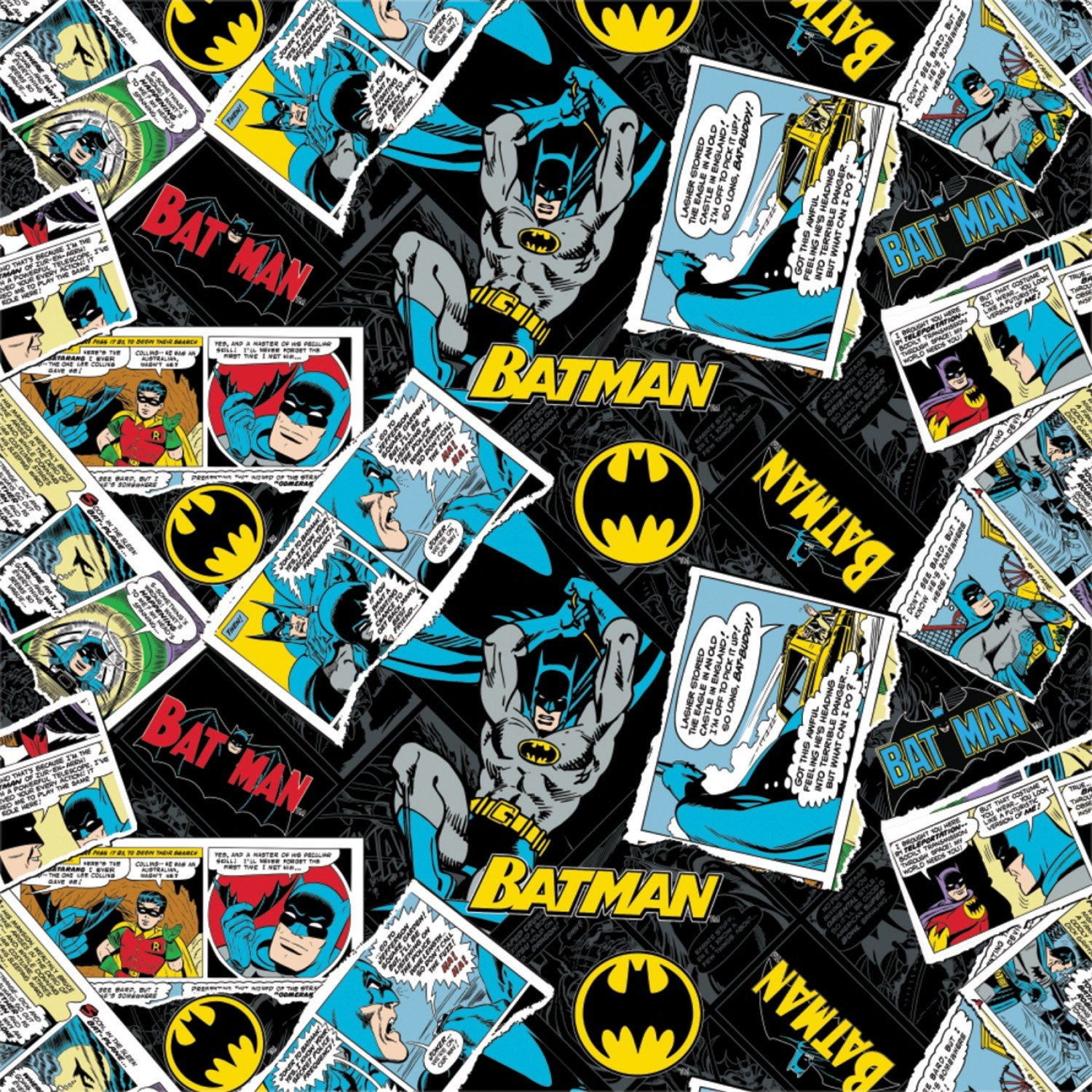 Batman collage in Black Fabric by the Yard