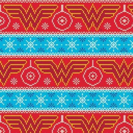 Character Winter Holiday 2 Wonder Woman Fair Isle Christmas Sweater Fabric by the Yard