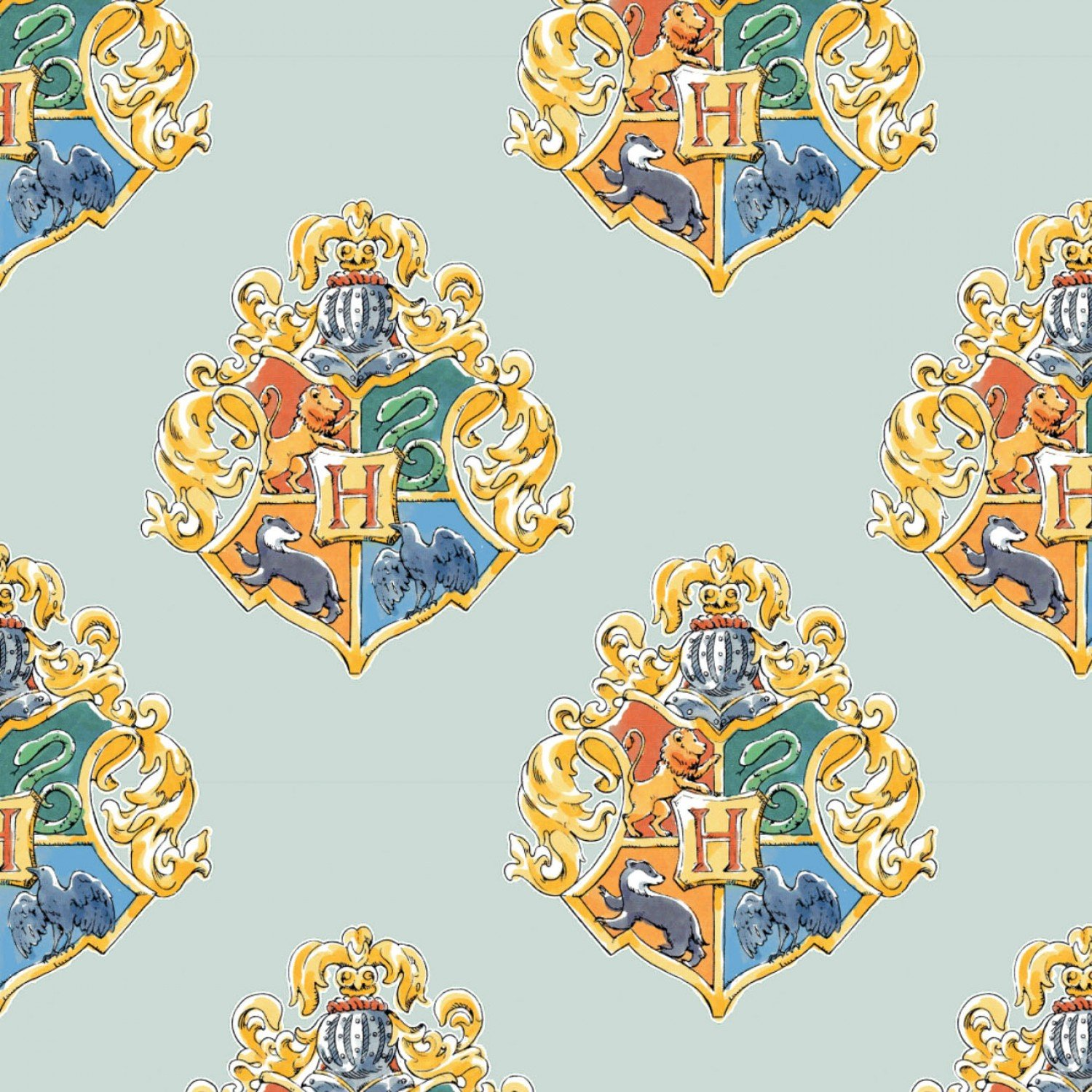 Harry Potter Cotton School Crest on Green - Fabric by the yard