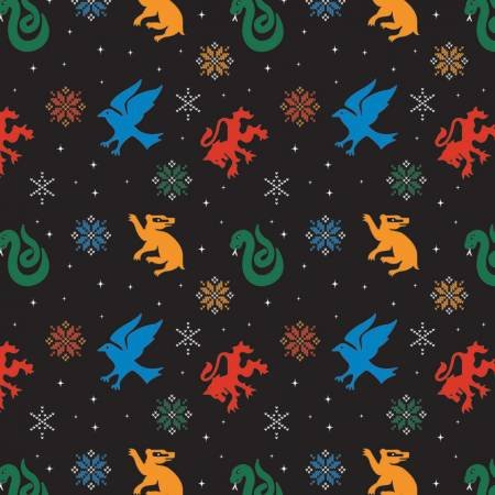 Character Winter Holiday 2 Harry Potter Snowflake Houses on Black Fabric by the Yard