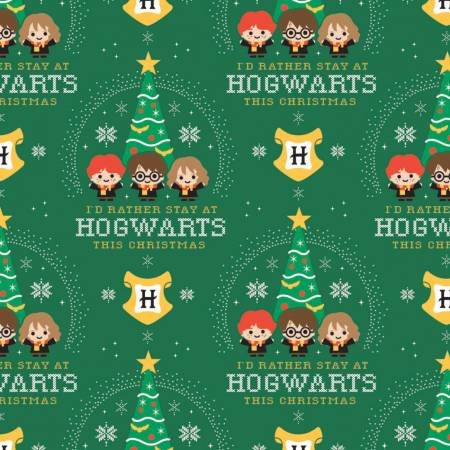 Character Winter Holiday 2 Harry Potter Hogwarts Holidyay on Green Fabric by the Yard
