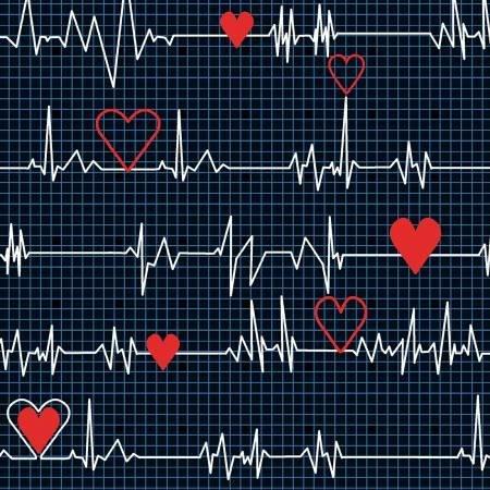 Calling All Nurses Nursing Fabric Heart Beat on Black Medical