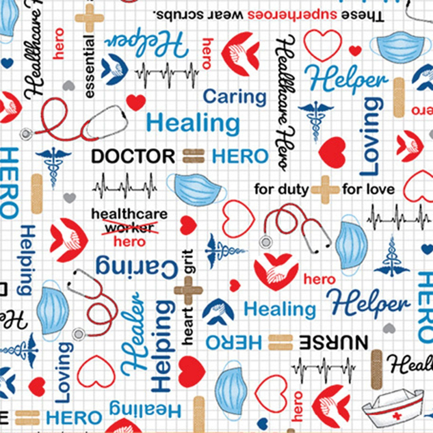 Calling All Nurses Healthcare Workers Supply Words Fabric by the Yarde
