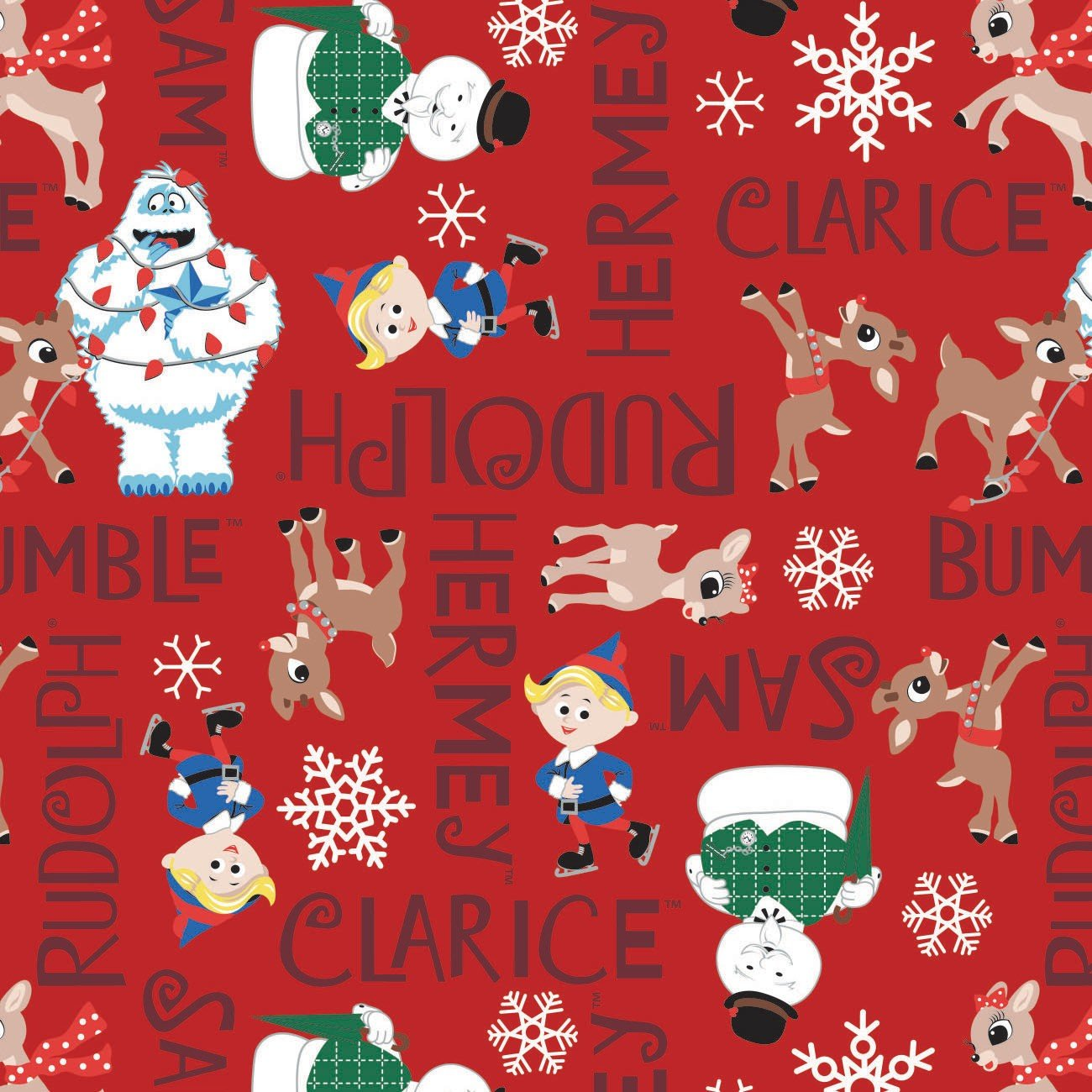Character Winter Holiday 2  Rudolph Character Names on Red  Fabric by the Yard