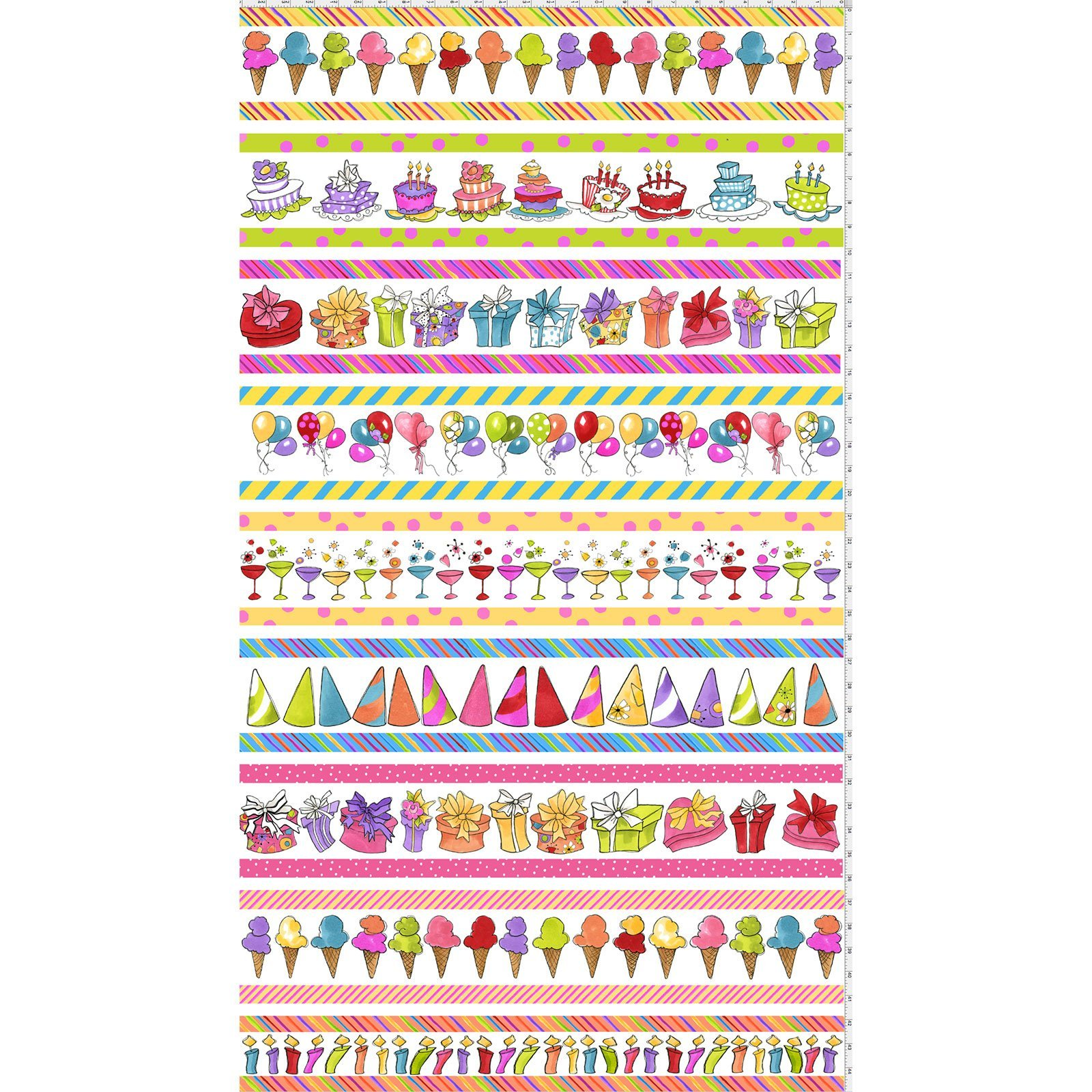 Party Border Print Fabric