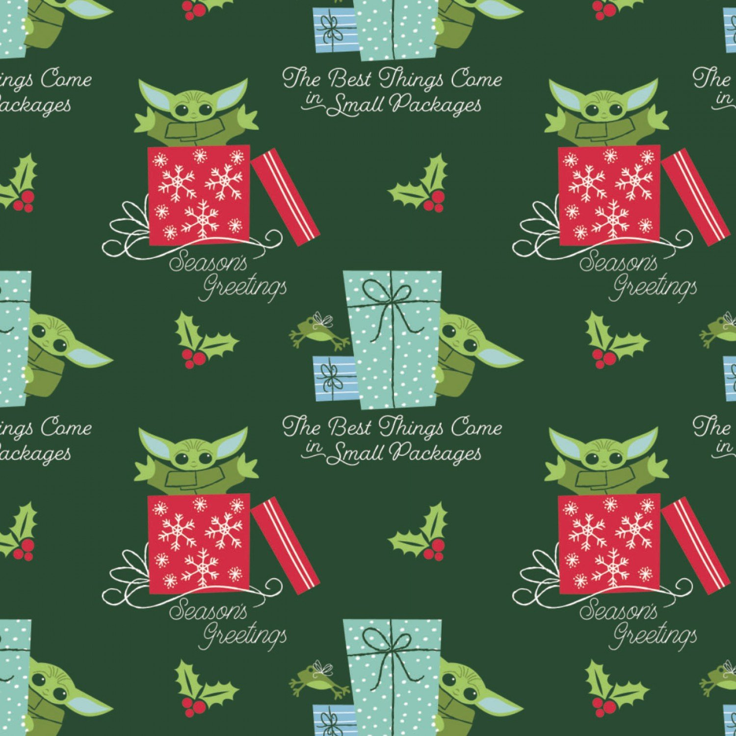 Character Winter Holiday 2  Star Wars Child Small Packages on Green Fabric by the Yard