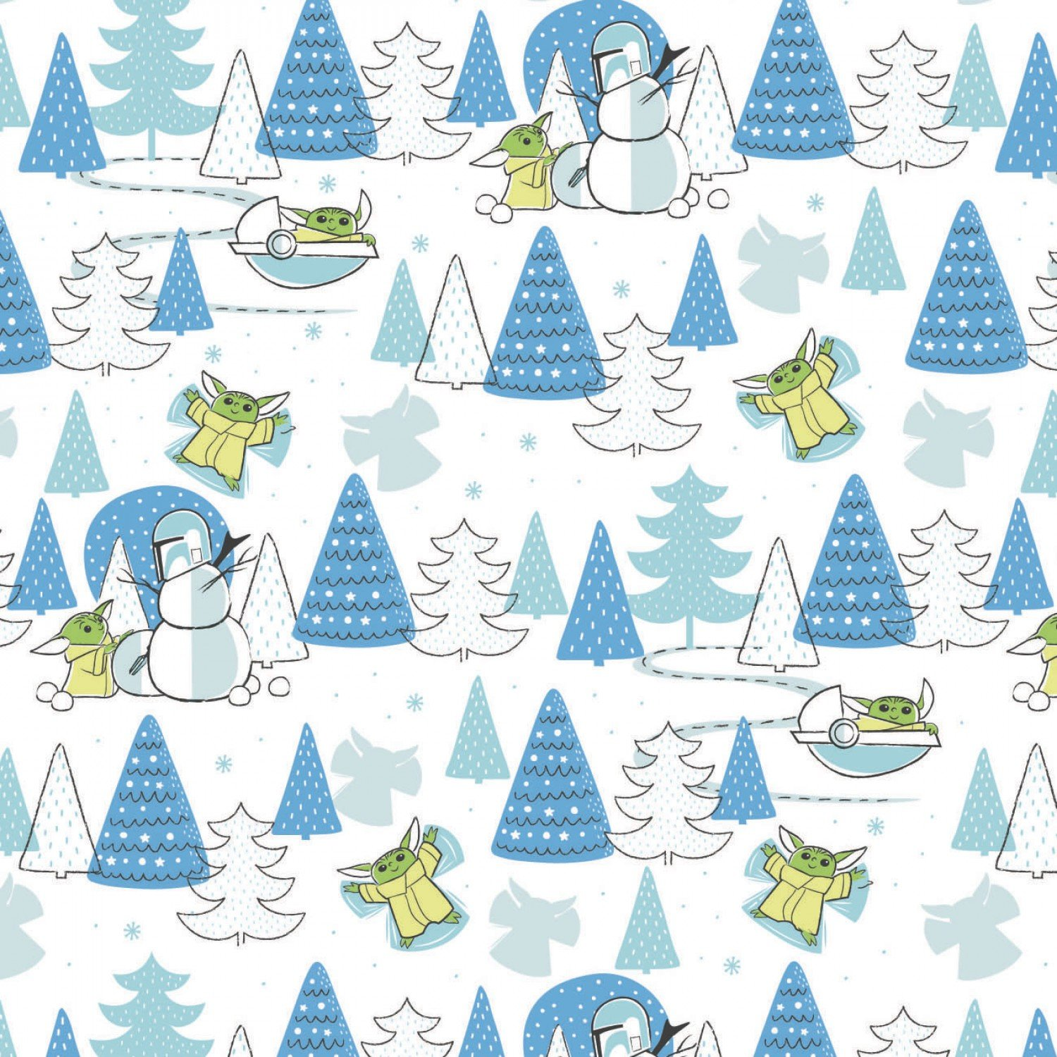 Character Winter Holiday 2  Star Wars Child Snow Day on White Fabric by the Yard
