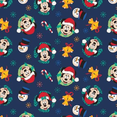 Character Winter Holiday 2  Mickey Mouse Joy to the World on Navy  Fabric by the Yard