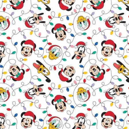 Character Winter Holiday 2  Mickey Mouse Festive Lights on White Fabric by the Yard