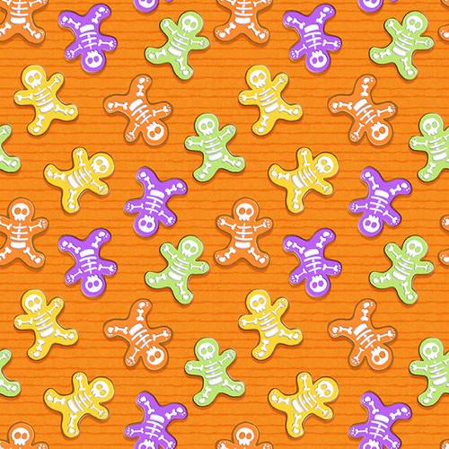 Glow Ghosts Skeleton Bones on Orange Fabric by the Yard