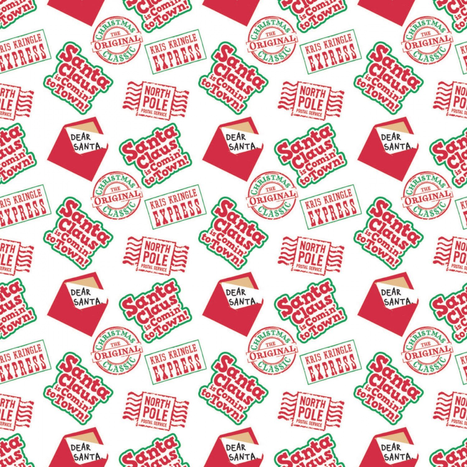 Character Winter Holiday 2  Santa Claus is Coming to Town Post Service Fabric by the Yard