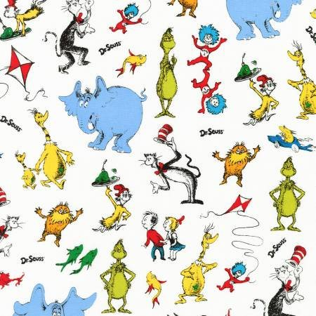 Dr Seuss Characters on White Fabric by the Yard