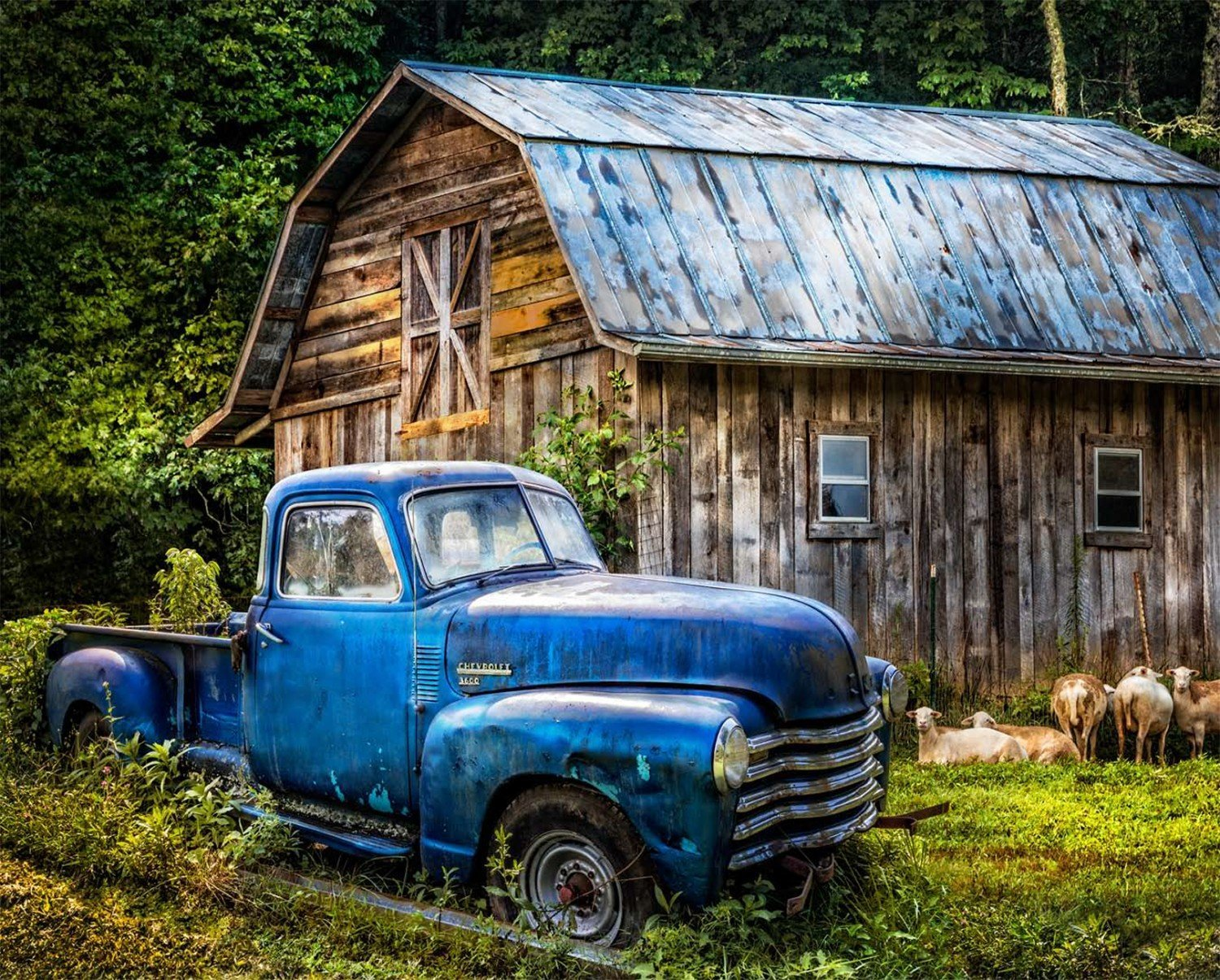 Blue Truck at the Barn 36 panel