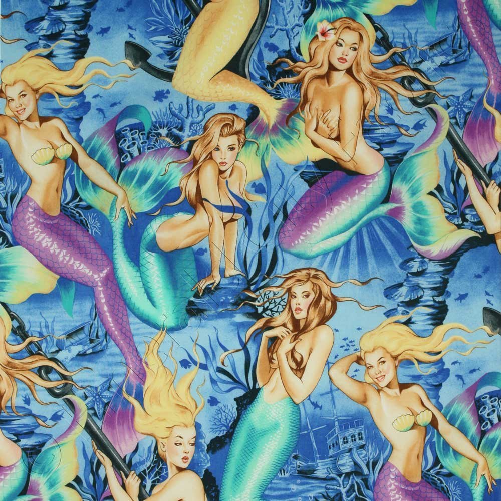 Sea Sirens Mermaids Fabric