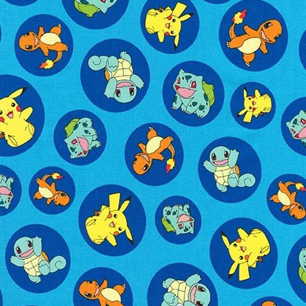 Pokemon Circles on Blue Fabric by the Yard
