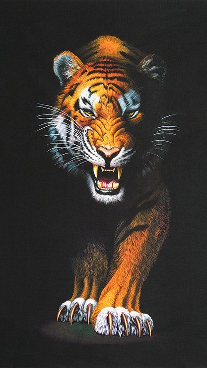 Animal Kingdom Snarling Tiger Panel 24 x 44