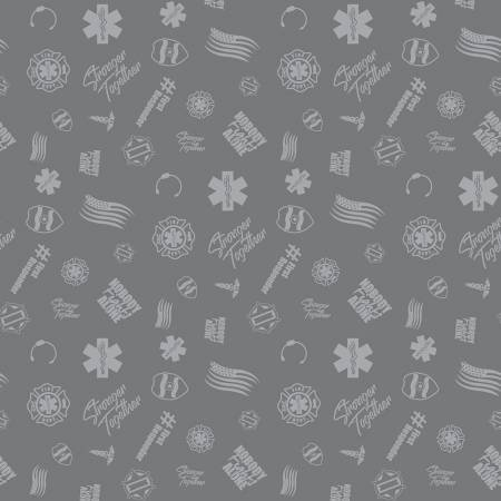 Nobody Fights Alone First Responder Symbols on Gray - fabric by the yard