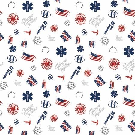 Nobody Fights Alone First Responder Symbols on White - fabric by the yard