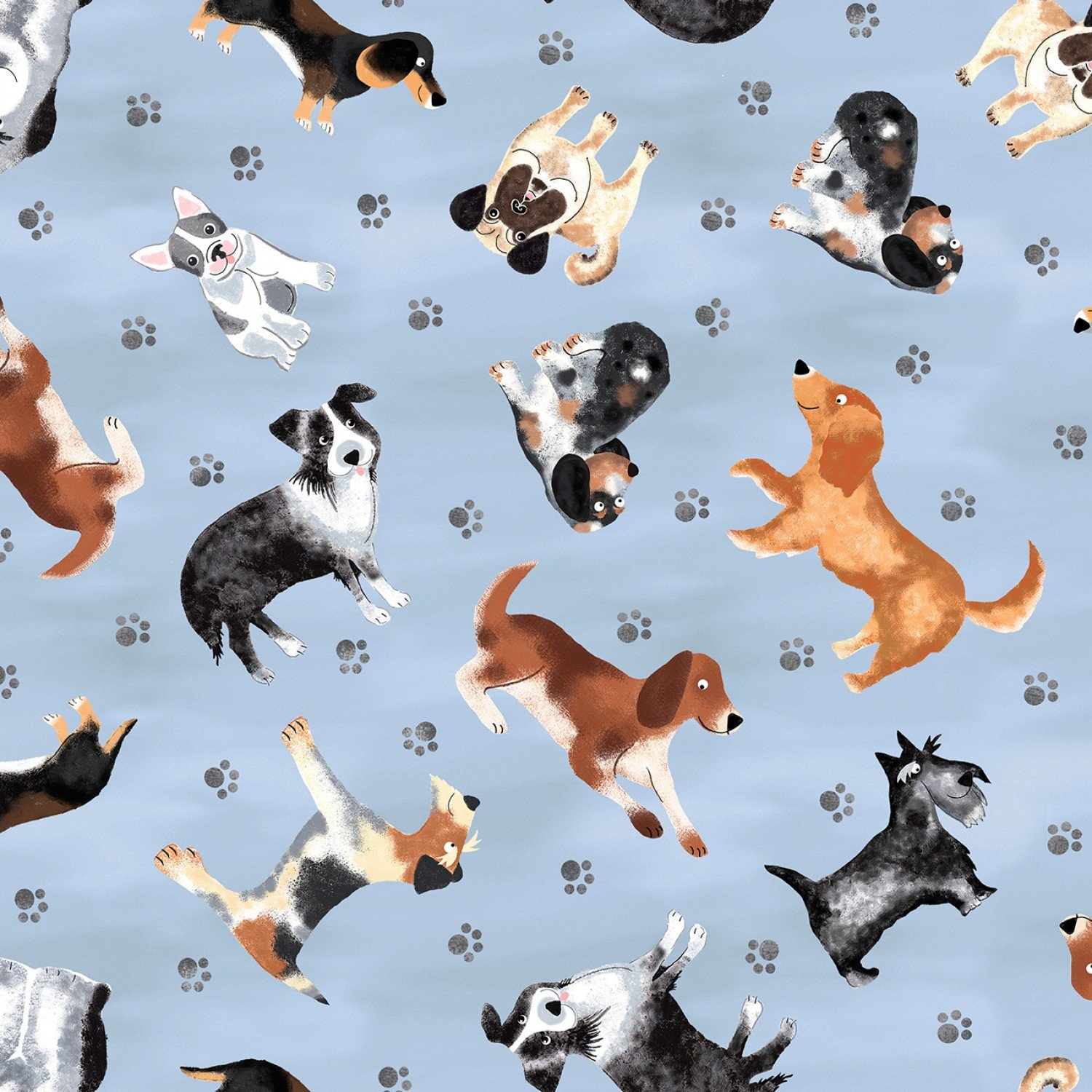 Tossed Faded Dogs Fabric by the Yard