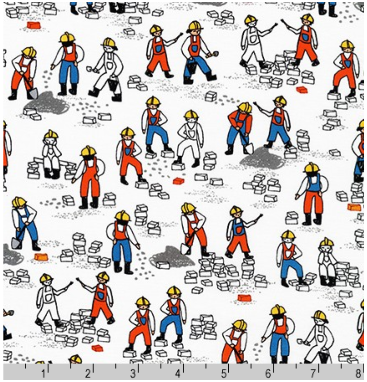 Build Bang Boom Construction Workers on White Fabric by the yard