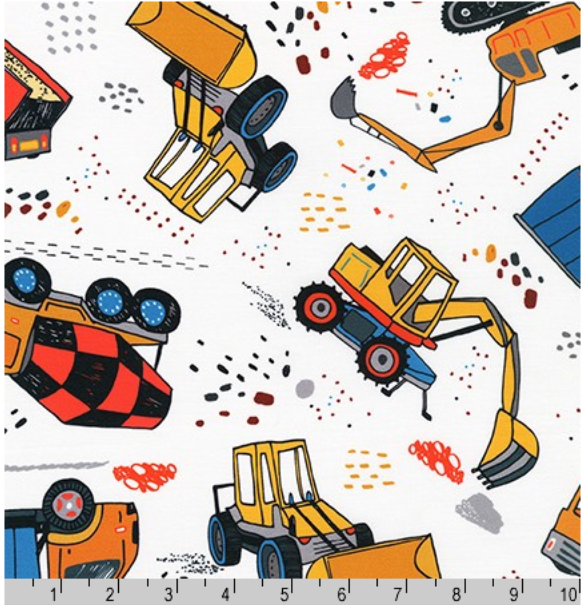 Build Bang Boom Construction Vehicles on White Fabric by the yard