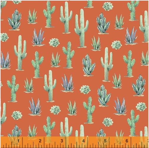 Desert Cowboy Adobe Cacti Digital Fabric by the yard