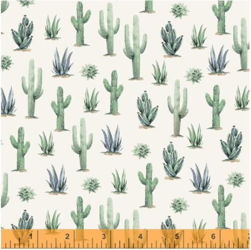 Desert Cowboy Cream Cacti Digital Fabric by the yard