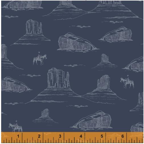 Desert Cowboy Navy Desertscape Digital Fabric by the yard