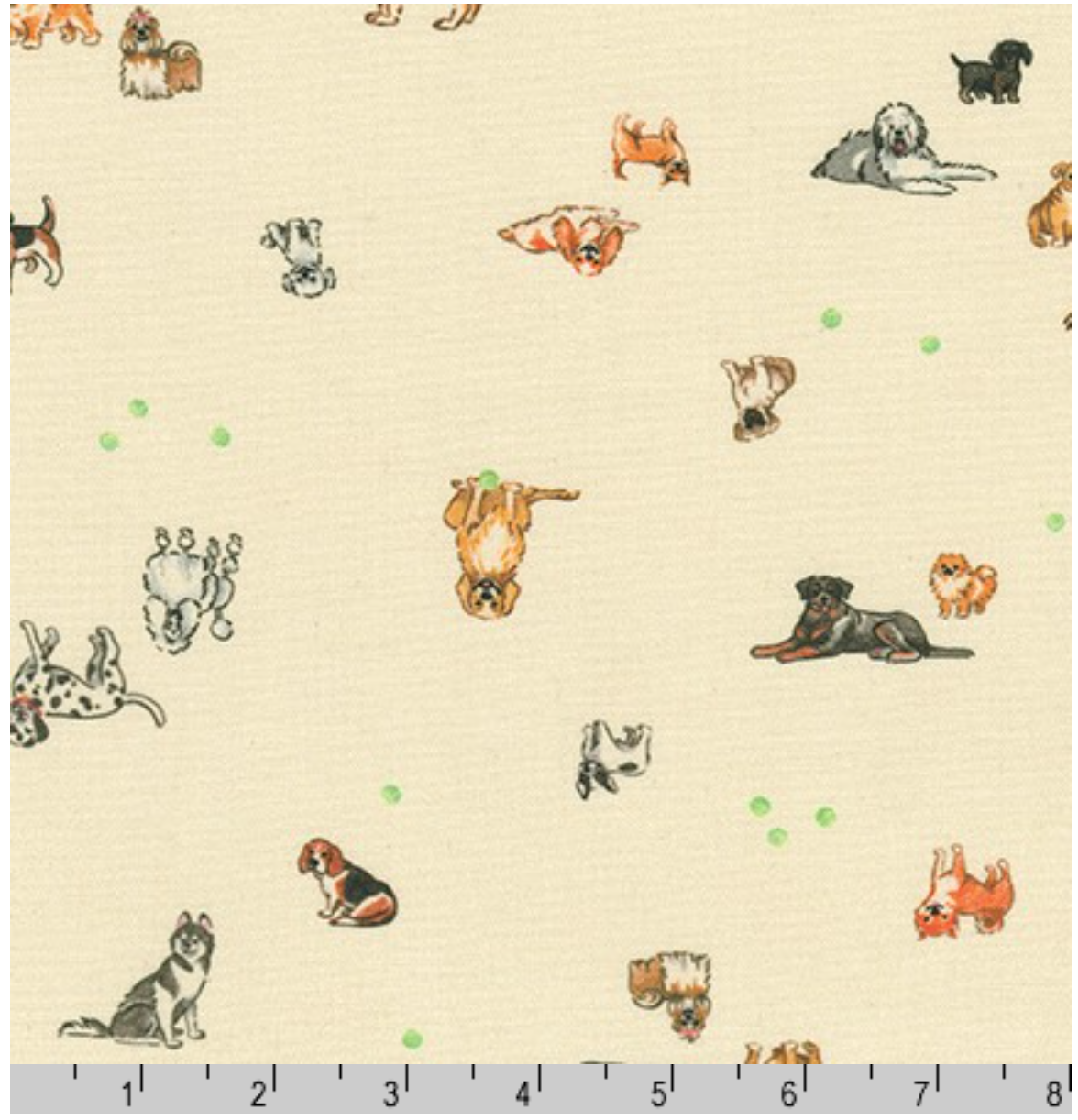 Petit Miniature Dogs on Natural Fabric by the Yard
