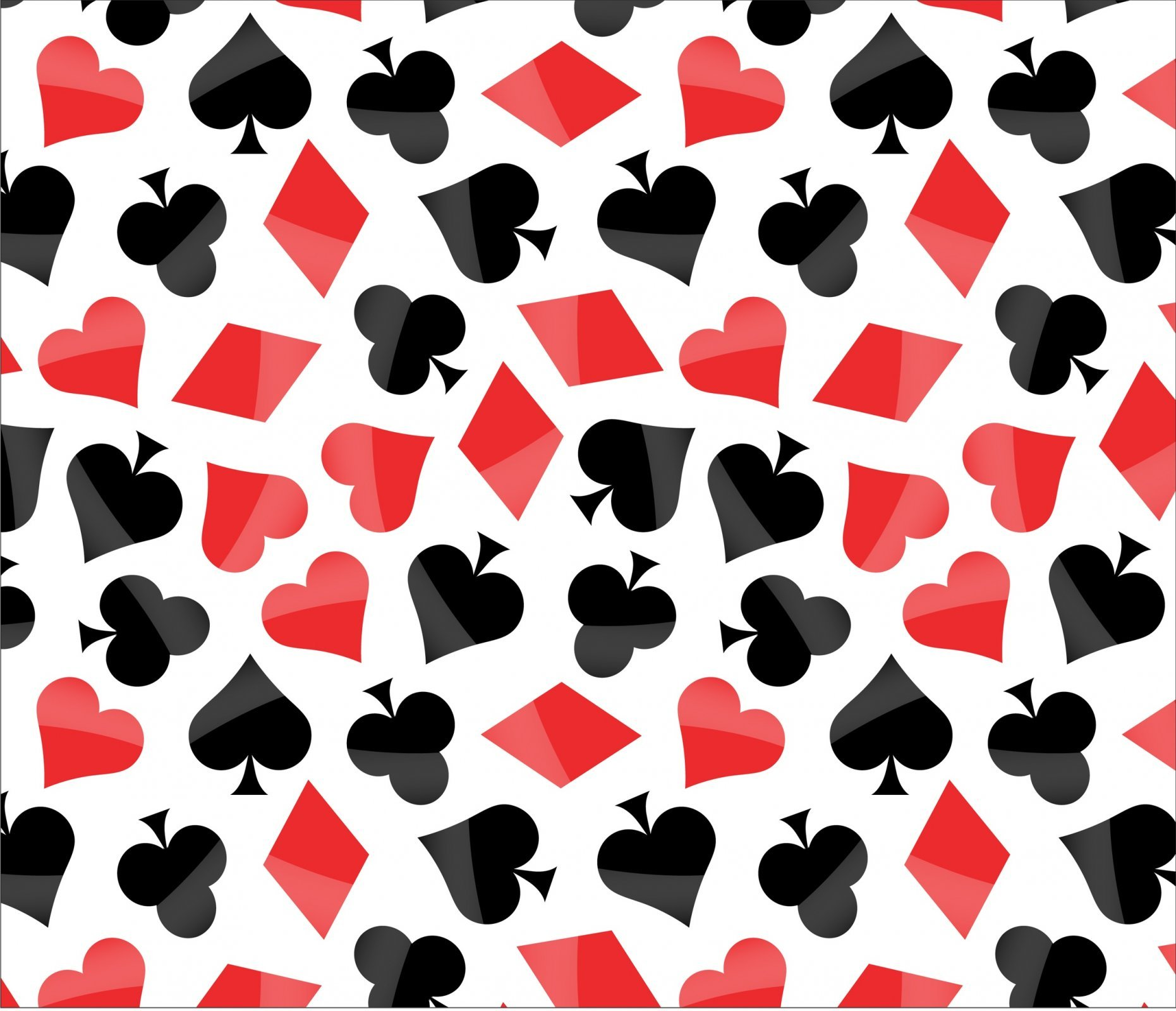 Poker Symbols on White David Textiles Exclusive Digital Prints Fabric by the Yard