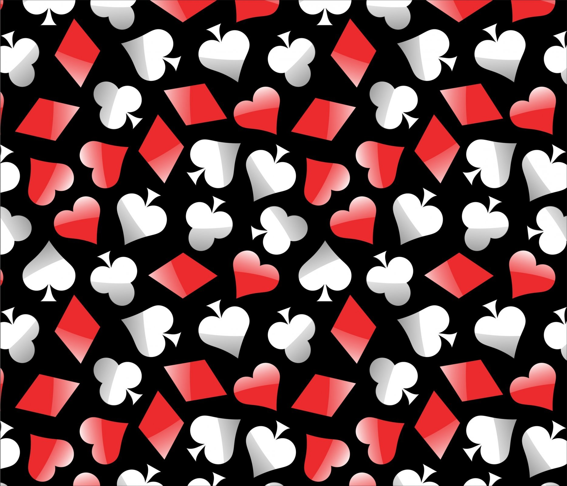 Poker Symbols on Black David Textiles Exclusive Digital Prints Fabric by the Yard