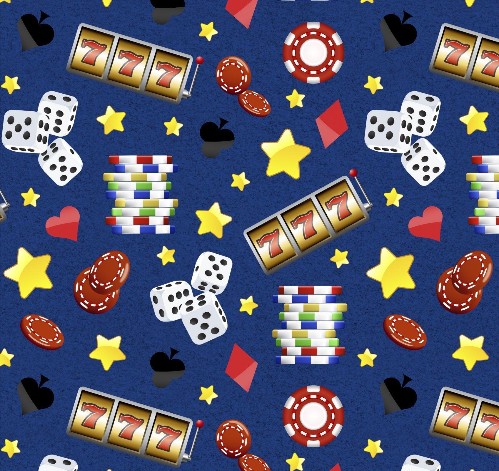Casino Stars on Blue David Textiles Exclusive Digital Print Blue Fabric by the Yard
