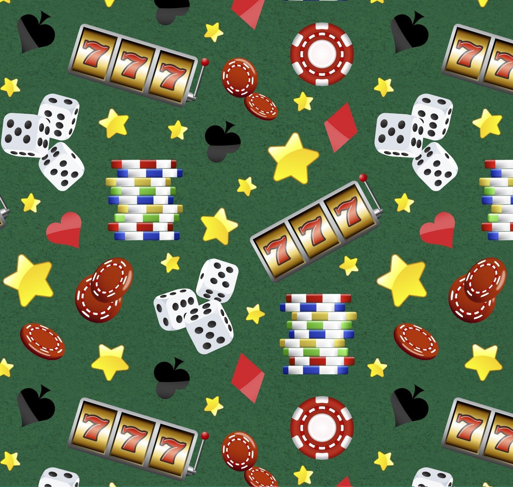 Casino Stars on Green David Textiles Exclusive Digital Print Green Fabric by the Yard