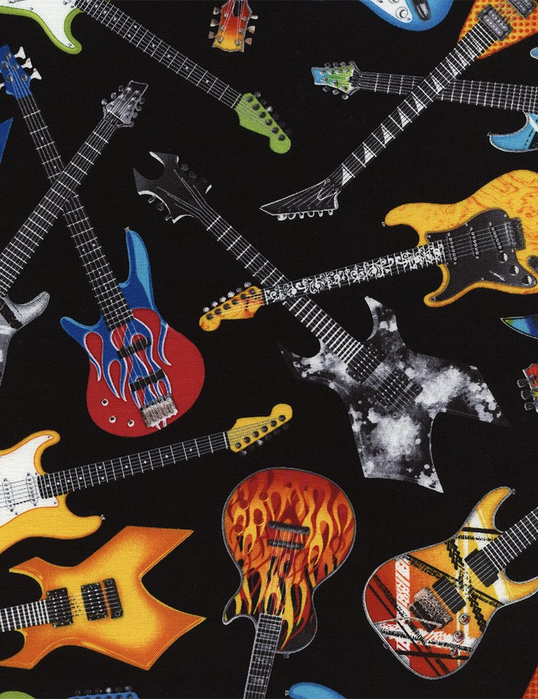 Tossed Electric Guitars Fabric by the Yard