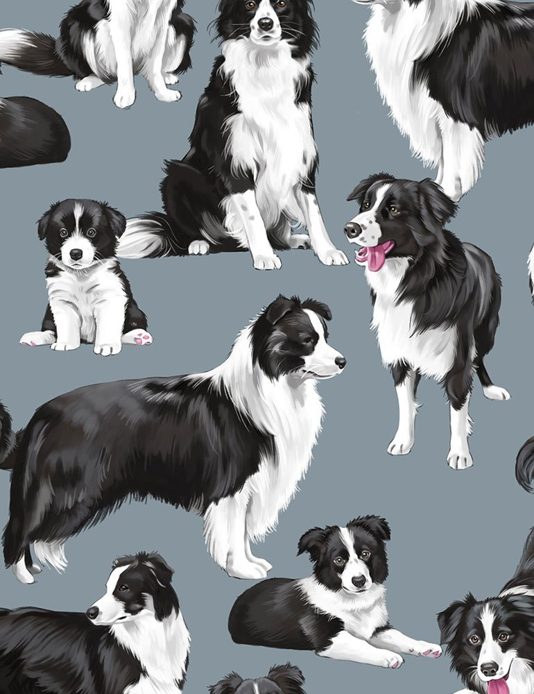 Border Collie Dog Fabric by the yard