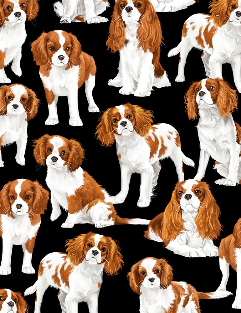 Cavalier King Charles Dog Fabric by the yard