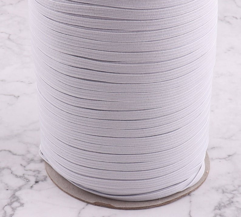 5 yard bundle - White Flat Elastic 1/4