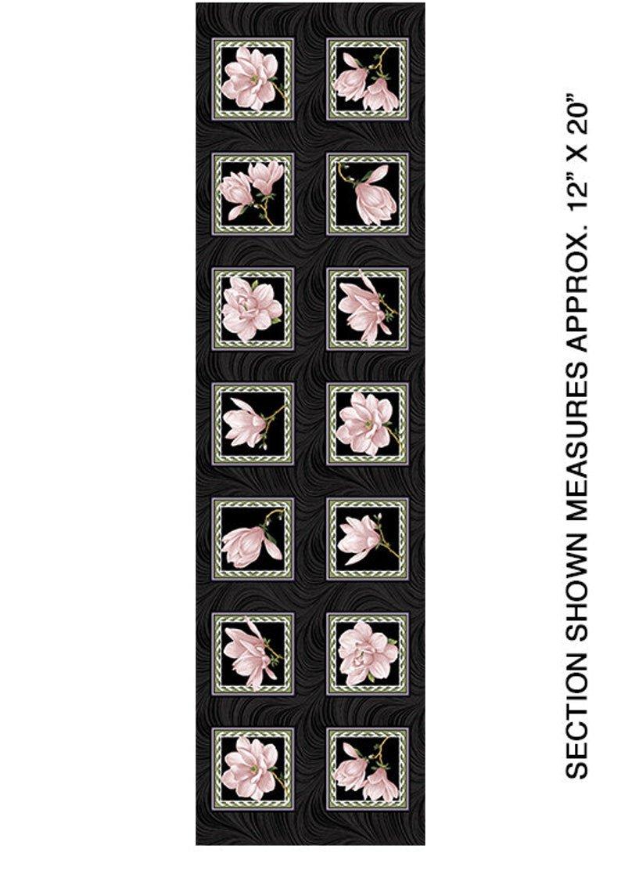 Accent on Magnolias Magnolia Blooms Blocks Panel Coral/Blk