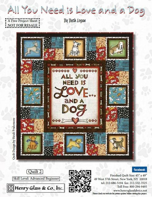 All You Need is Love and a Dog Quilt #2 - Free Pattern Download - copy