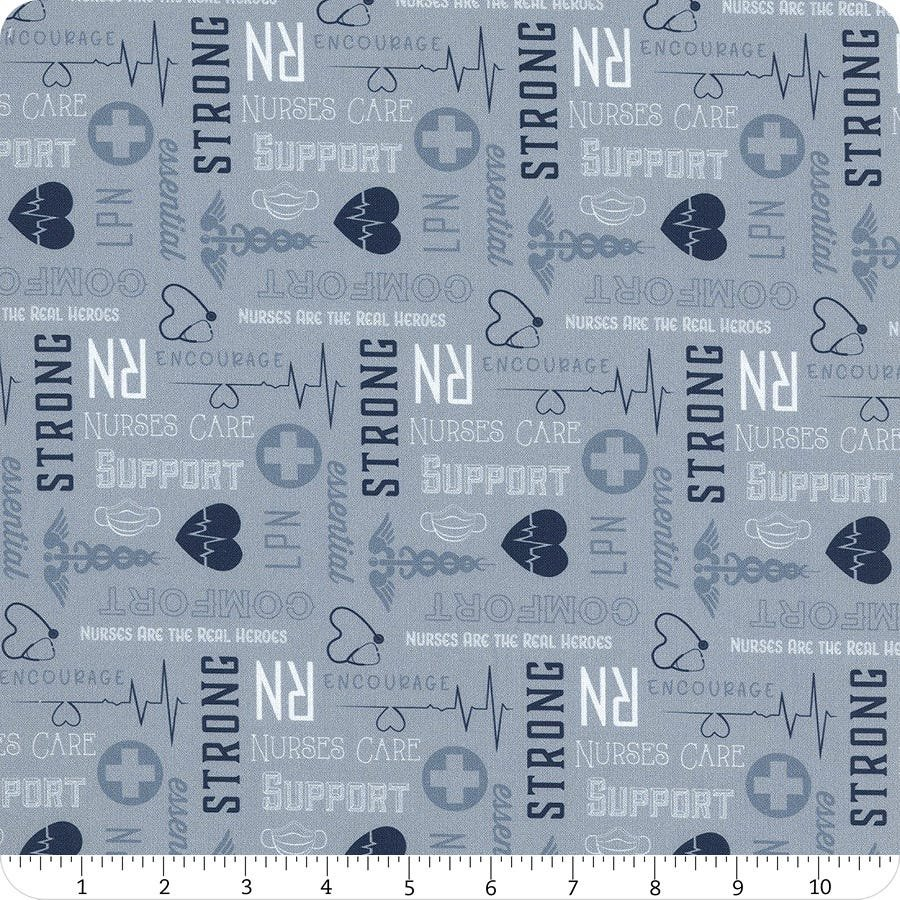Nobody Fights Alone Blue Nurse Words - fabric by the yard
