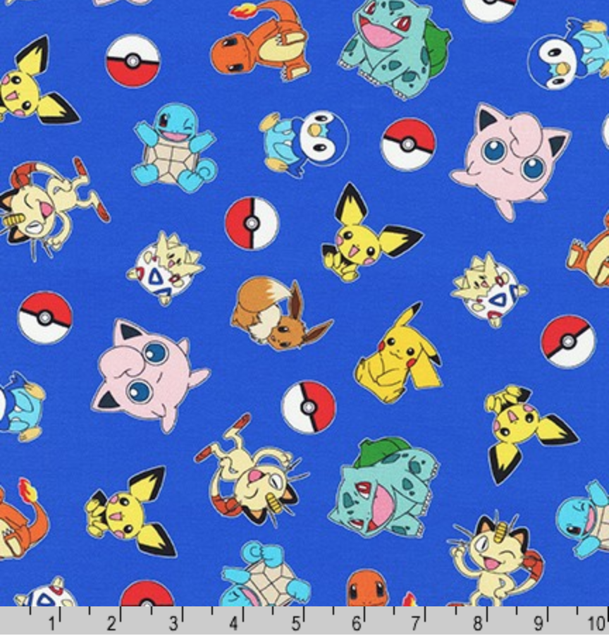 Pokemon on Royal Fabric by the Yard