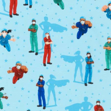 Frontline Heroes Doctors and Nurses Super Heroes on Blue