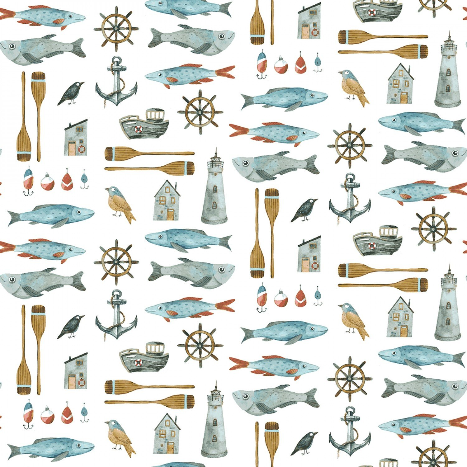 Fish, Boats, Anchors, Birds on White Fabric by the Yard