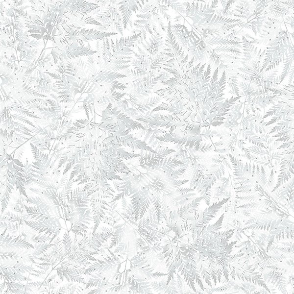 Light Gray Ferns with Silver Fabric by the Yard