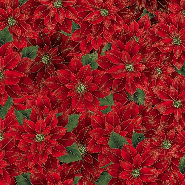 Medium Red Pointsettias with Gold Fabric by the Yard