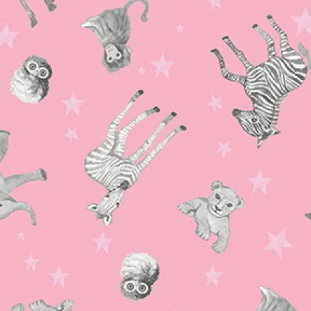Baby Safari Baby Animals on Dark Pink