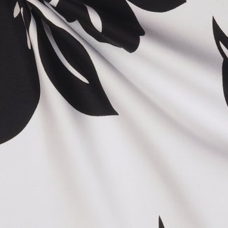 white cotton sateen with black flowers