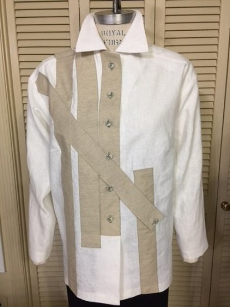 Linen shirt with strips